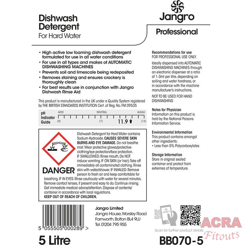 Dishwash detergent 5L for hard water back