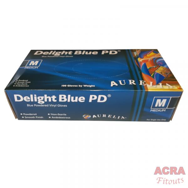 Delight Blue PD blue powdered Vinyl gloves - ACRA