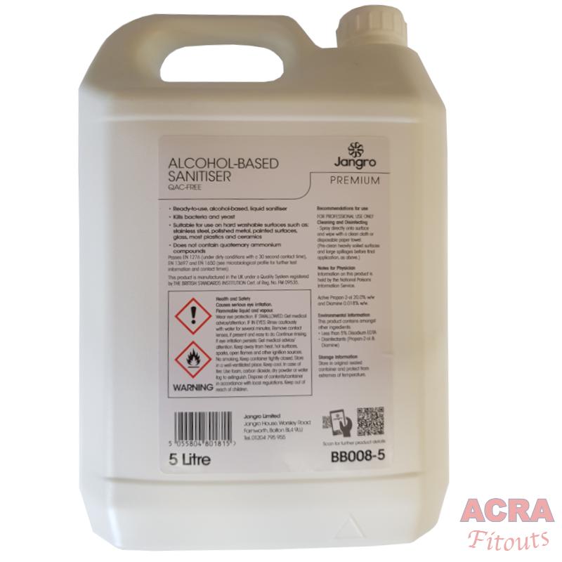 Jangro Premium alcohol based sanitiser 5ltr back