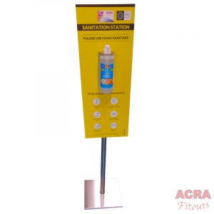 Sanitation Sign with stand bracket and 1ltr bottle