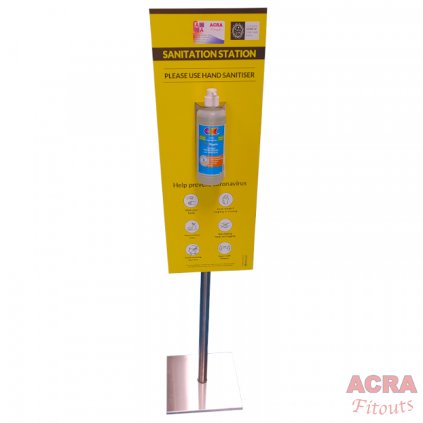 Sanitation Sign with stand bracket and 1ltr bottle - ACRA