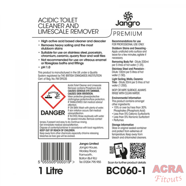 Jangro Premium Acidic Toilet Cleaner and limescale remover-ACRA