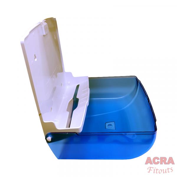 Palex Z-Fold Paper Towel Dispenser - Transparent Blue-Open - ACRA