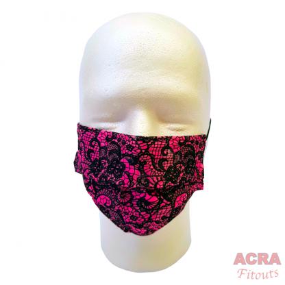Disposable Masks - Lace pattern-Pink-ACRA