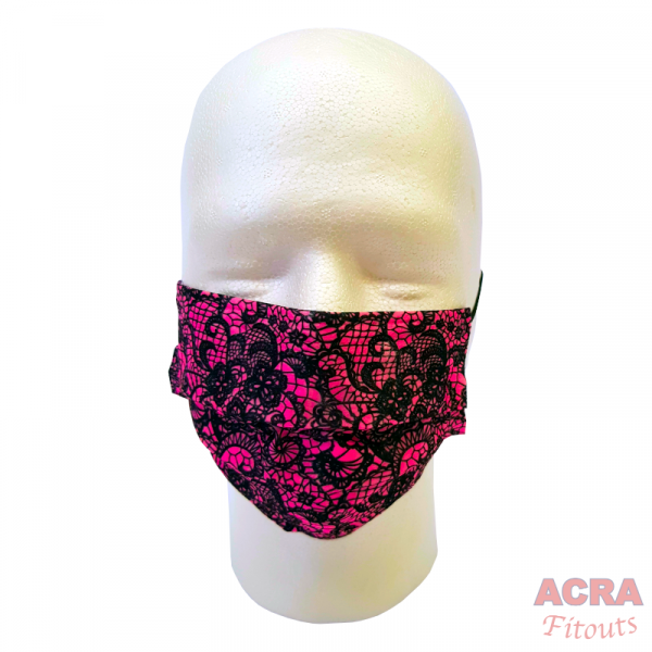 Disposable Masks - Lace pattern-Pink-ACRA