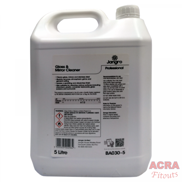 Jangro Professional Glass and Mirror Cleaner (BA030-5) - Back - ACRA
