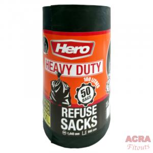 Roll 50 x Hero Heavy Duty XXL Refuse Sacks 1440x990mm - ACRA